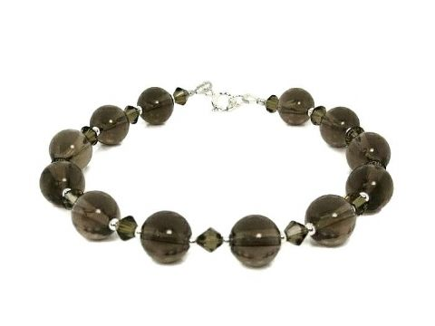Brown Smokey Quartz & Swarovski Crystals Bracelet With Sterling Silver